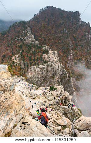 Tourists at seorak mountains at the Seorak-san National Park, Soraksan, South korea