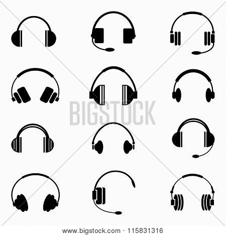 Music Headphones Collection Of Monochrome Symbols