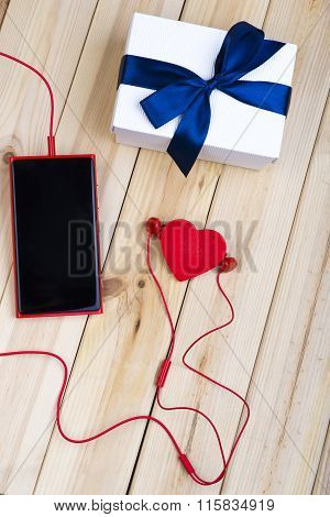 Smart Phone, Gift And Red Heart.