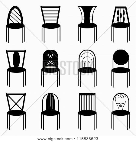 Chairs Monochrome Symbols Collection Vector Illustration