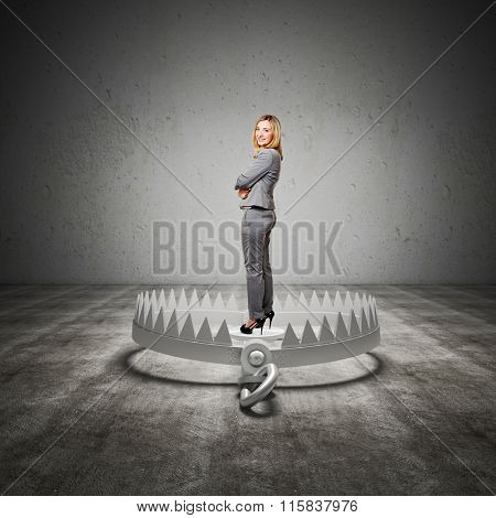standing woman on 3d bear trap