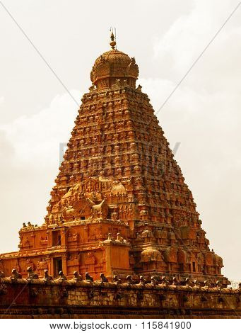 Side view of Brihadeeswarar Temple in Thanjavur, Tamil Nadu India