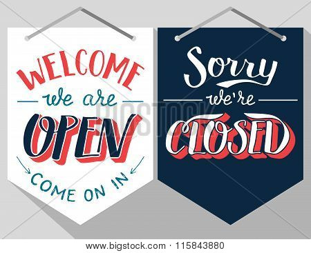 Open And Closed Hand Lettered Signs