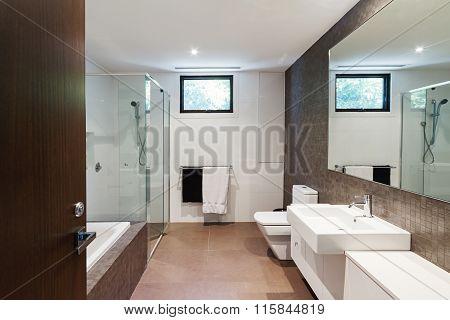 Contemporary Brown Natural Tones Family Bathroom