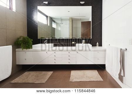 Double Basin Vanity And Mirror In Contemporary New Bathroom