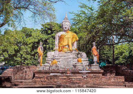 Large Stone Buddha Statue With Orange Sash, Ayutthaya, Thailand