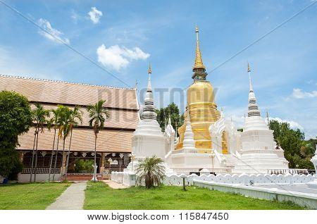 Exterior Shot Of Wat Suan Dok, Chiang Mai, Thailand.