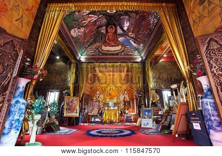 Ornate Interior Of Wat Buppharam, Chiang Mai, Thailand