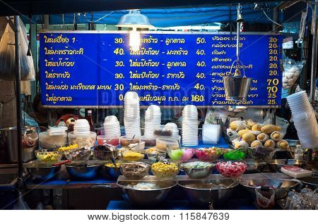 Dessert Stall At A Night Market Near Khao San Road, Bangkok.