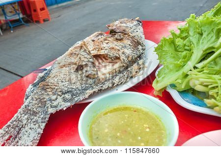 Thai Grilled Fish Served At A Street-side Restaurant In Bangkok, Thailand