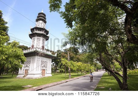 Chinese-style Clock Tower In Lumpini Park, Bangkok, Thailand