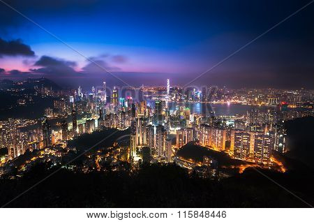 Illuminated Hong Kong Cityscape As Seen From Jardine's Lookout, Hong Kong Island