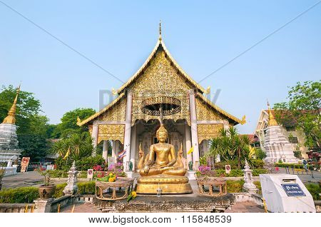 Buddha Statue Outside The Main Wiharn At Wat Chedi Luang, Chiang Mai, Thailand