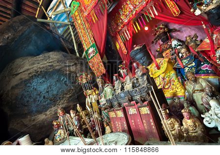 Statues Of Chinese Gods On The Main Altar Of Hung Shing Temple, Wan Chai, Hong Kong