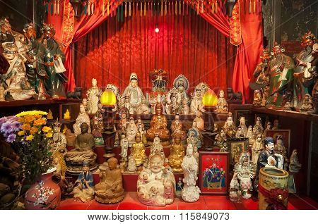 Statues on the altar of Tin Hau Temple in Causeway Bay, Hong Kong