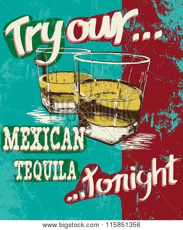 Vintage poster of two stemware with tequila