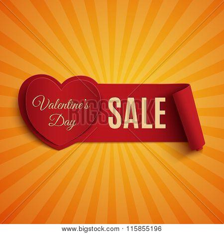 Valentines Day Sale banner, on orange background.