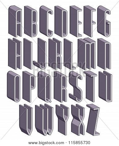 3D Tall And Thin Font, Monochrome Dimensional Alphabet.