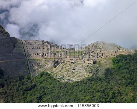 Machu Picchu Seen From Oposite Mountain Putucusi