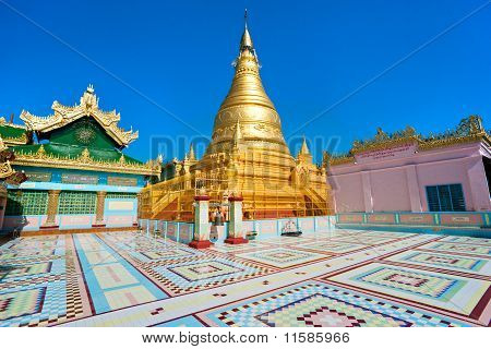 Golden Pagoda In Sagaing Hill, Mandalay, Myanmar.