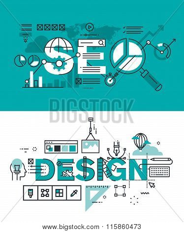 Set of modern vector illustration concepts of words SEO and design