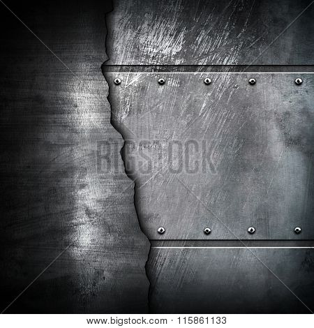 cracked metal with scratched background
