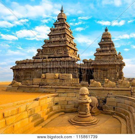 Monolithic Famous Shore Temple Near Mahabalipuram, World Heritage Site In Tamil Nadu, India, Close U