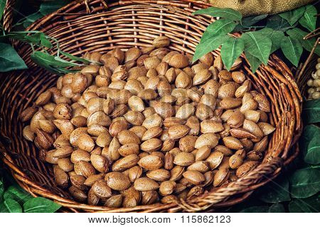 Closeup Photo Of Almonds In Wicker Bowl