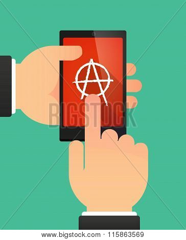 Man Using A Phone Showing An Anarchy Sign
