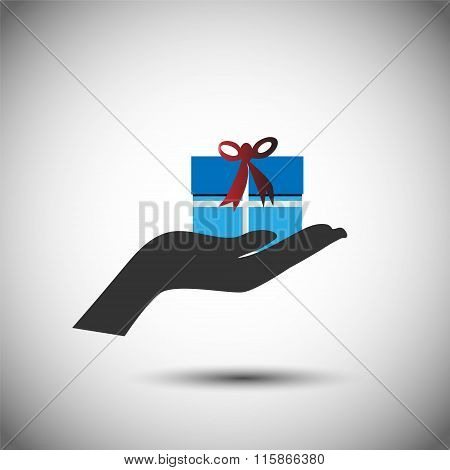 Gift and Hand, Vector illustration of receiving and sending a gift on a special occasion.