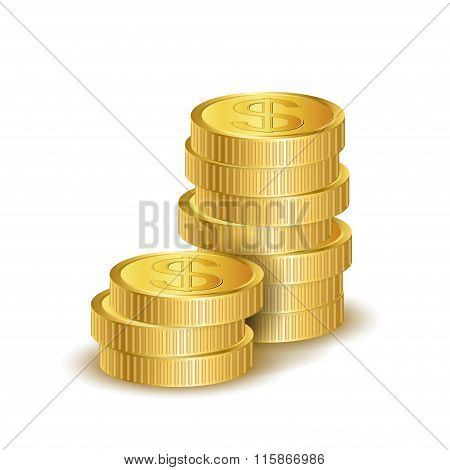 illustration of golden coins isolated on a white background