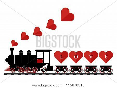 Abstract Vintage Steam Engine Locomotive Love Train Truck With Love Hearts On Railroad Track Isolate