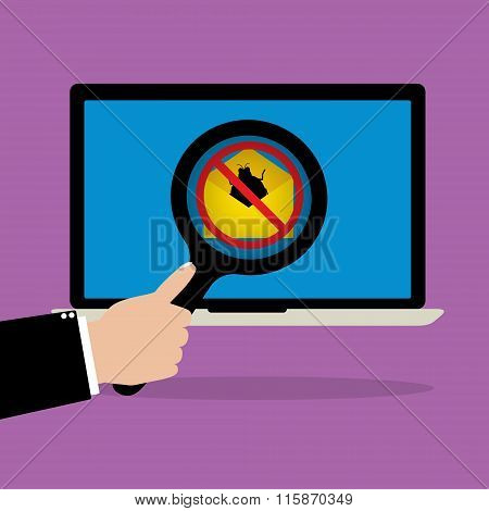 Businessman Hold A Magnify Glass Scanning Email With Malware Bug Computer Virus Attachment On Laptop