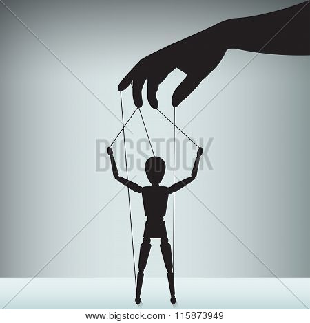 hand with the figure of an executive as a puppet poster