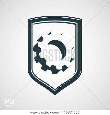 3d graphic gear symbol on shield heraldic escutcheon with an engineering design element