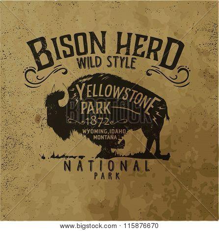 Vector Vintage Western Buffalo Silhouette Print