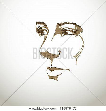 Vector Art Drawing, Portrait Of Gorgeous Dreamy Girl Isolated On White. Facial Expressions, People