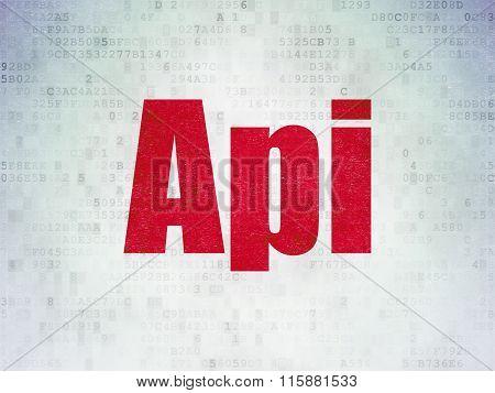 Database concept: Api on Digital Paper background