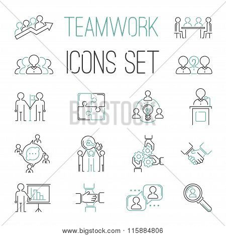 Business teamwork teambuilding outline icons