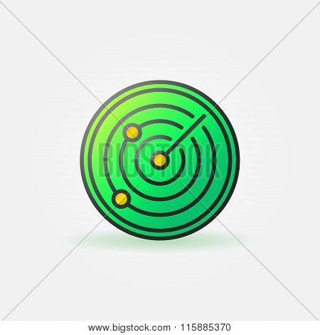 Glossy radar green icon