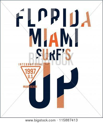 Vector Surf Print Florida Miami Text