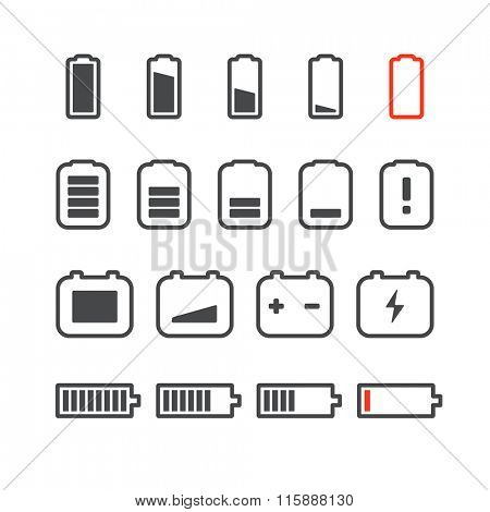 Different accumulator status icons. Minimalism illustration concept