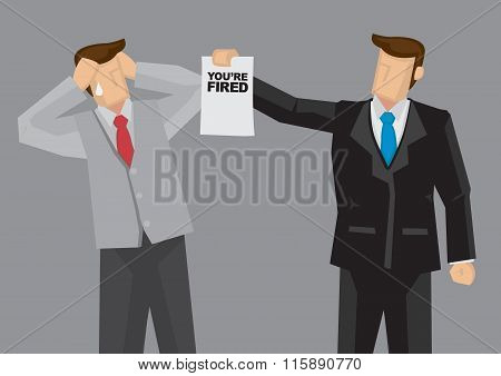 Employment Termination Vector Cartoon Illustration