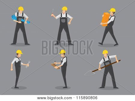 Construction Worker Working With Tools