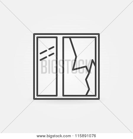 Broken window line vector icon