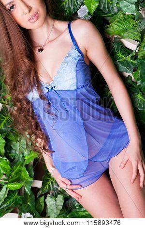 Girl In Blue-violet Lingerie