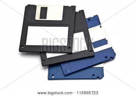 Computer floppy disk on white background
