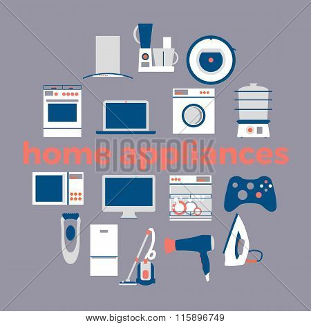 Home electronics appliances circle.