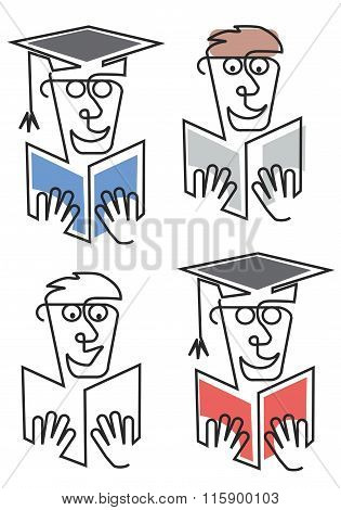 Graduate Student With Book And Diploma