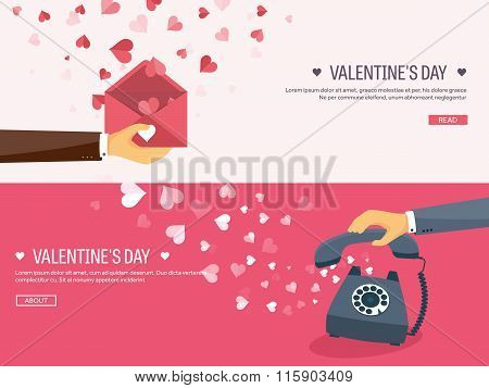 Vector illustration. Flat background with envelope and telephone. Love, hearts. Valentines day. Be m
